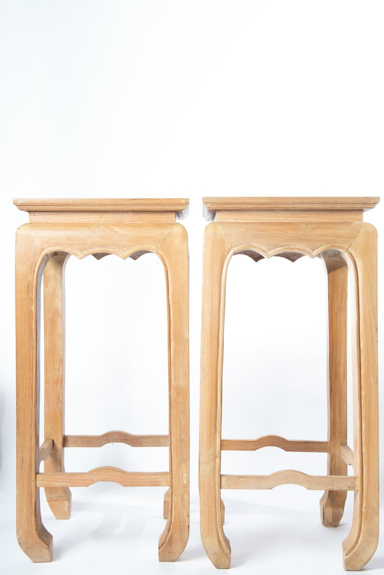 Sturdy, well made cerused light wood Ming style pedestals.