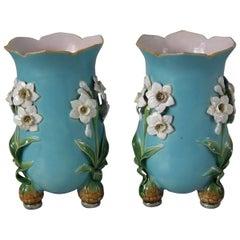 Pair of Minton Majolica Daffodil Vases