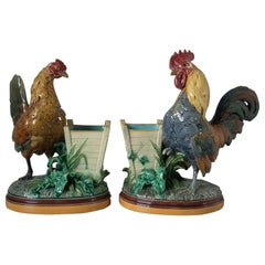 Pair of Minton Majolica Hen and Rooster Vases by John Henk
