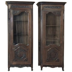 Pair of Mirror Image 19th Century Country French Vitrines from Normandie