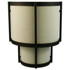 Pair Modern 3 light Metal and Fabric Shade Sconces