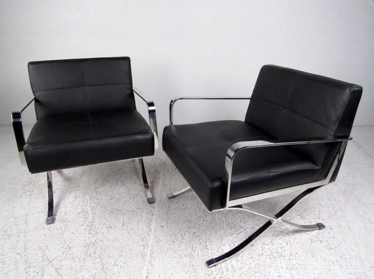 Amazing Pair Of Modern Club Chairs With X Frame Base For Sale At 1Stdibs Dailytribune Chair Design For Home Dailytribuneorg