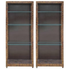 Pair Modern Henredon Oil Drop Display / Book Cases with Tortoise Finish