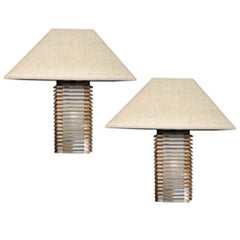 Pair Modern Italian Design Natural Wood Linen Lampshades Handcrafted Table Lamps
