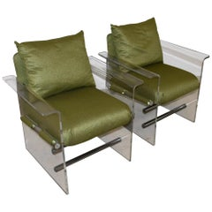 Pair of Modern Lucite And Chrome Club Chairs by Pace