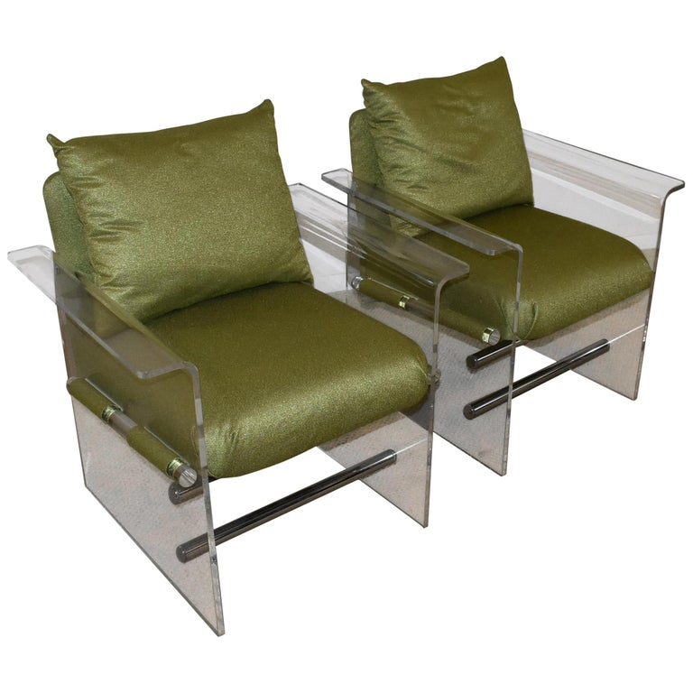 Pair of Modern Lucite And Chrome Club Chairs by Pace For Sale
