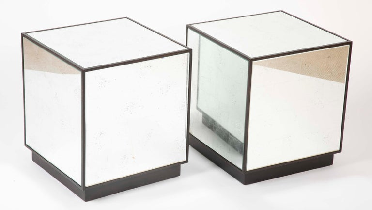 Pair of Modern Mirror Cube Side Tables For Sale 5