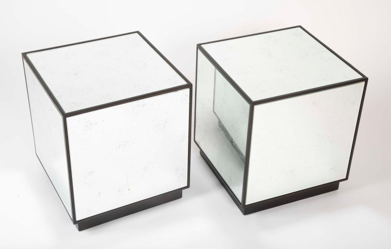 Pair of Modern Mirror Cube Side Tables For Sale 6