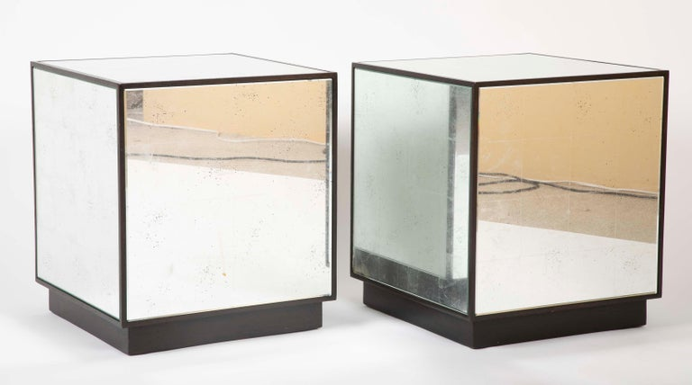 Mid-Century Modern Pair of Modern Mirror Cube Side Tables For Sale