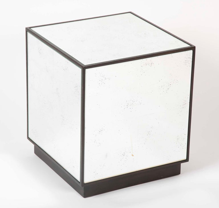 American Pair of Modern Mirror Cube Side Tables For Sale