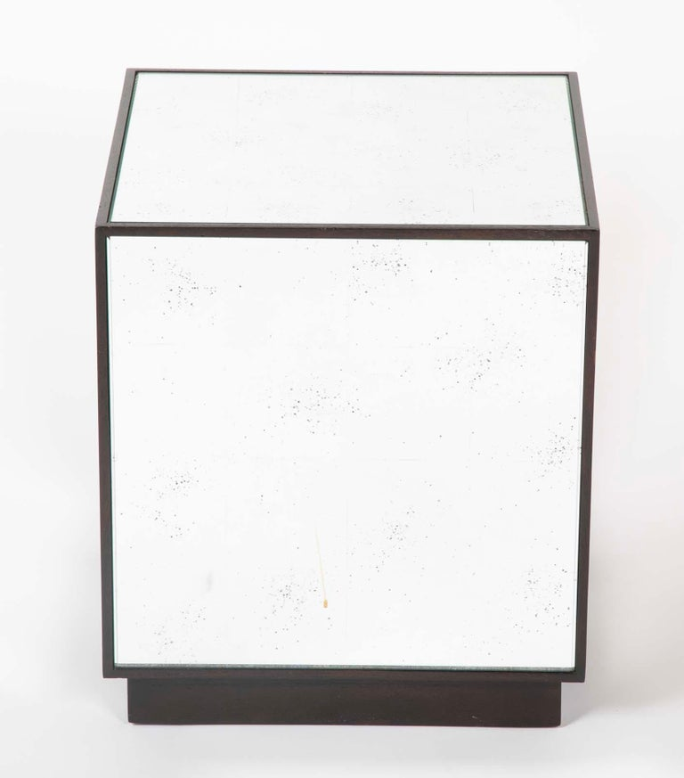 20th Century Pair of Modern Mirror Cube Side Tables For Sale