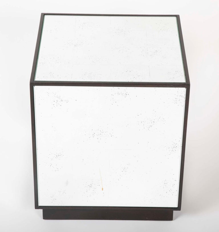 Pair of Modern Mirror Cube Side Tables For Sale 1