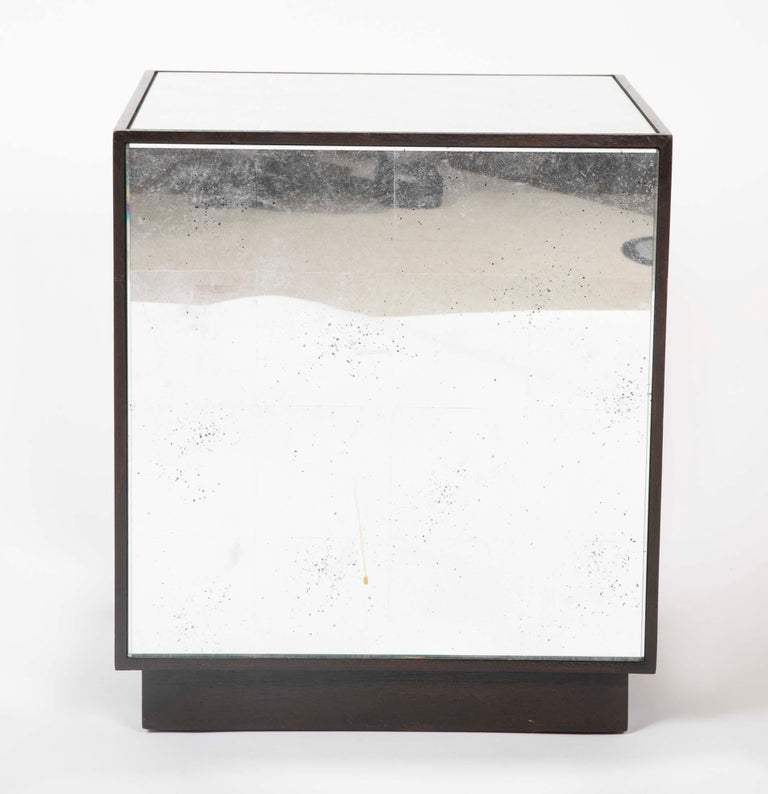 Pair of Modern Mirror Cube Side Tables For Sale 3