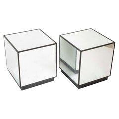 Pair of Modern Mirror Cube Side Tables