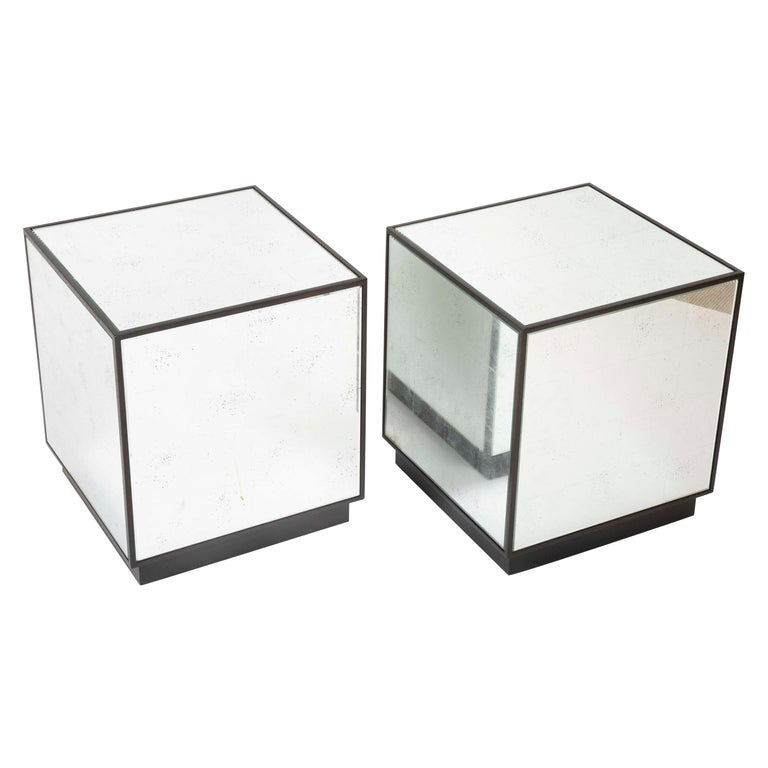 Pair of Modern Mirror Cube Side Tables For Sale
