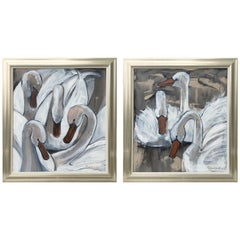 Pair of Modern Oil Paintings of Swans by Karen Beauchamp