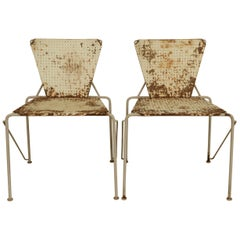 Pair of Modern Pierced Metal Chairs with Rustic Finish