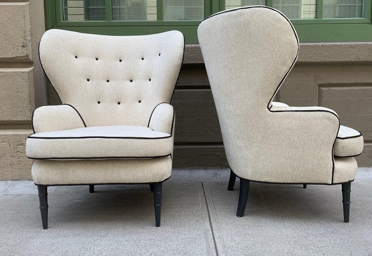 Painted Pair of Modern Tufted Wingback Chairs For Sale