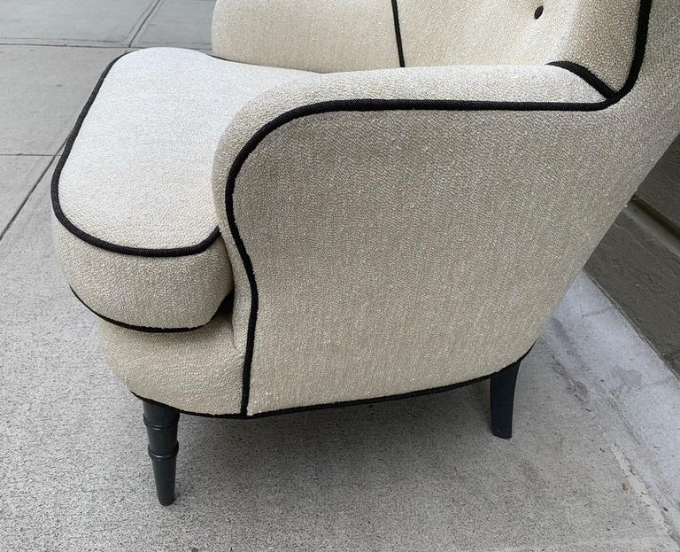 Contemporary Pair of Modern Tufted Wingback Chairs For Sale