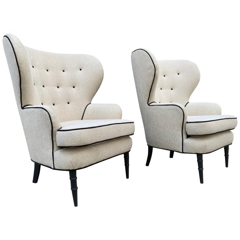 Pair of Modern Tufted Wingback Chairs For Sale