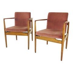 Pair of Modern Wood Armchairs with Sienna Mohair