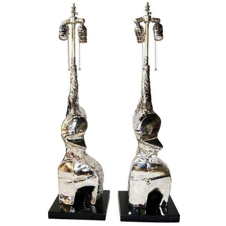 Pair of Moderne Brutalist Table Lamps