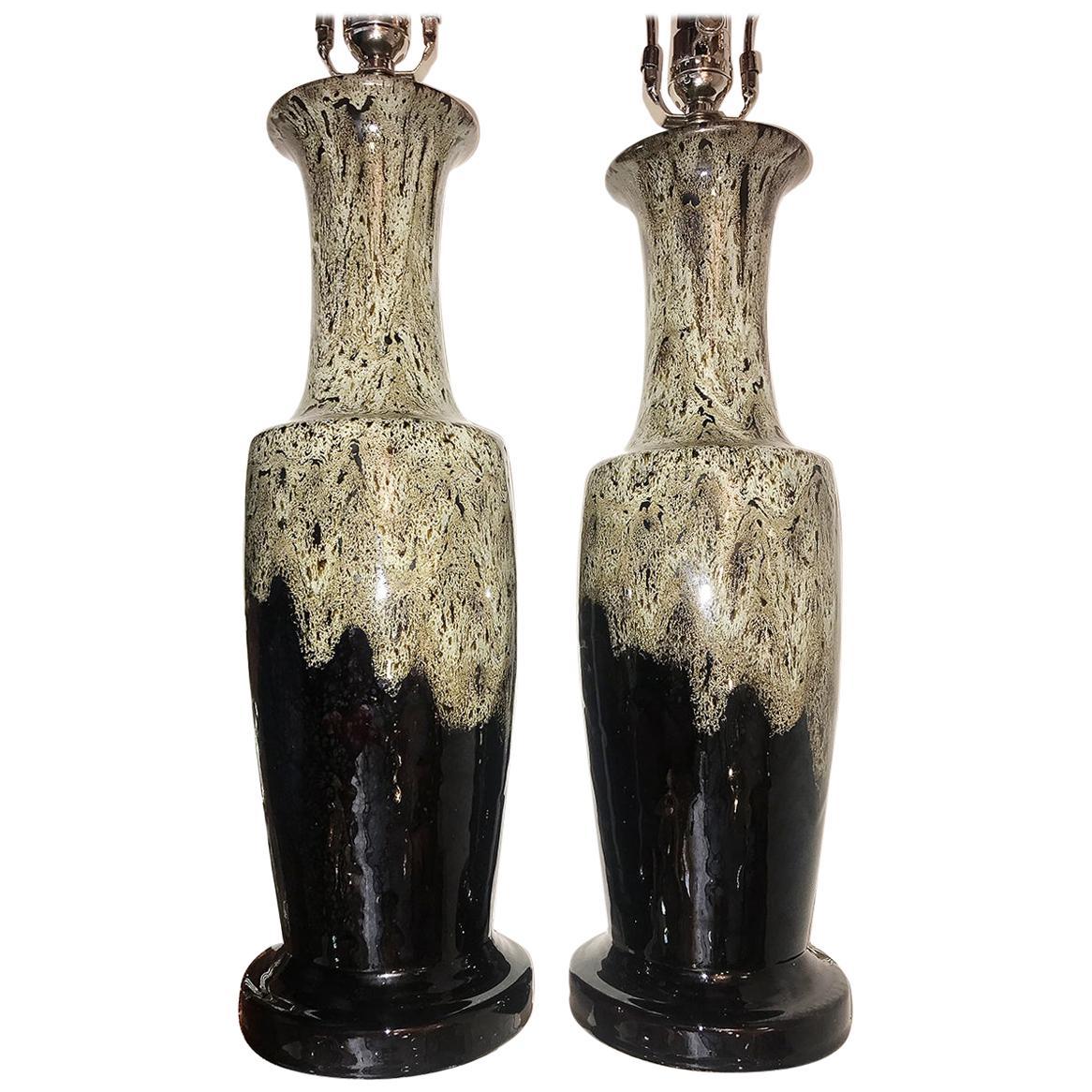 Pair Moderne Porcelain Table Lamps