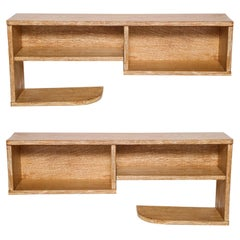 Pair Modernist Royere Gouffe Cerused Oak Wall Shelf Deco, 1930s, France