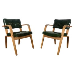 Pair of Modernist Thonet Bent Wood and Alligator Patent Leather Lounge Chairs
