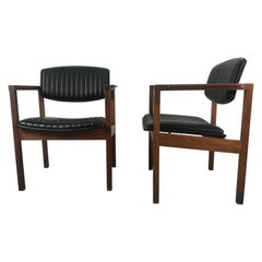 Pair Modernist Walnut and Channeled Naugahyde Lounge Chairs Attr. to Jens Risom