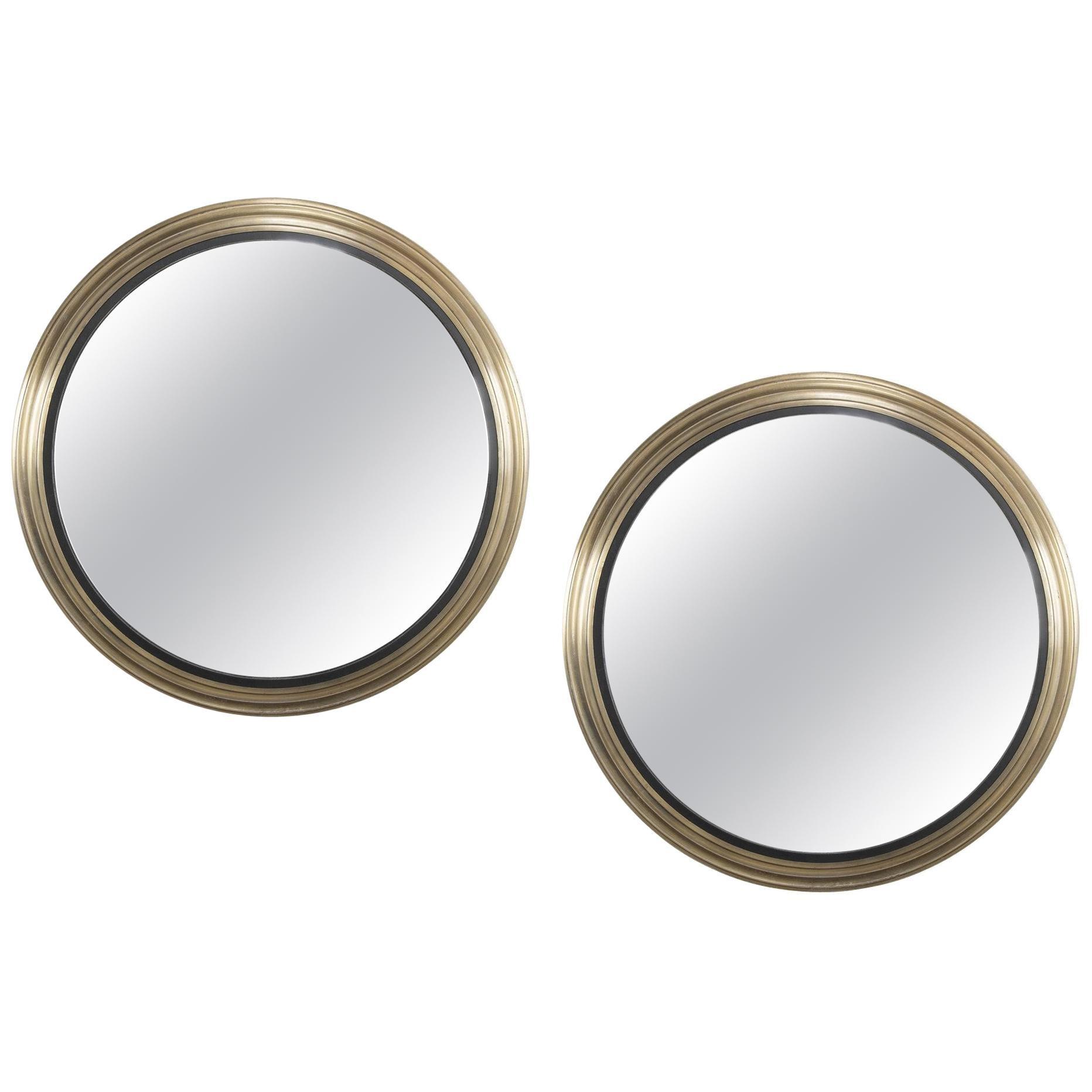 Pair of Monumental 20th Century Steel Frame Convex Mirrors