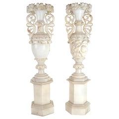 Pair of Monumental Alabaster Vases