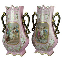Pair of Monumental Antique French Figural Porcelain Pictorial Old Paris Vases