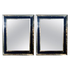 Pair of Monumental Art Deco Wall, Console or Pier Mirrors with Beveled Frames
