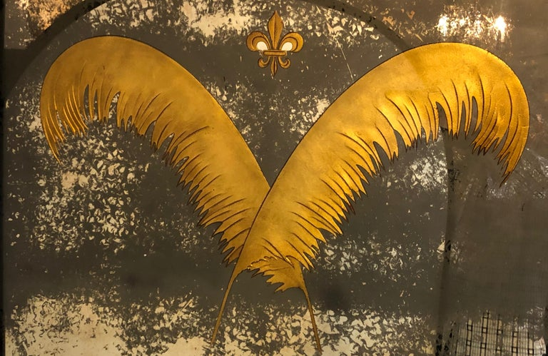 Mirror Pair Monumental Hollywood Regency Eglomise Feathers with Fleur De Lis Engravings For Sale