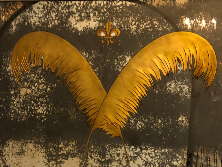 Pair Monumental Hollywood Regency Eglomise Feathers with Fleur De Lis Engravings For Sale 1