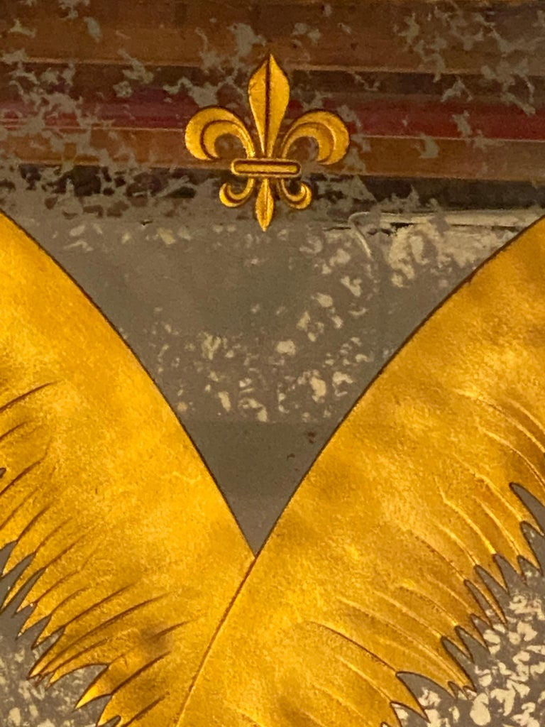 Pair Monumental Hollywood Regency Eglomise Feathers with Fleur De Lis Engravings For Sale 2