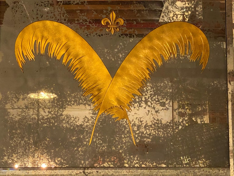 Pair Monumental Hollywood Regency Eglomise Feathers with Fleur De Lis Engravings For Sale 3