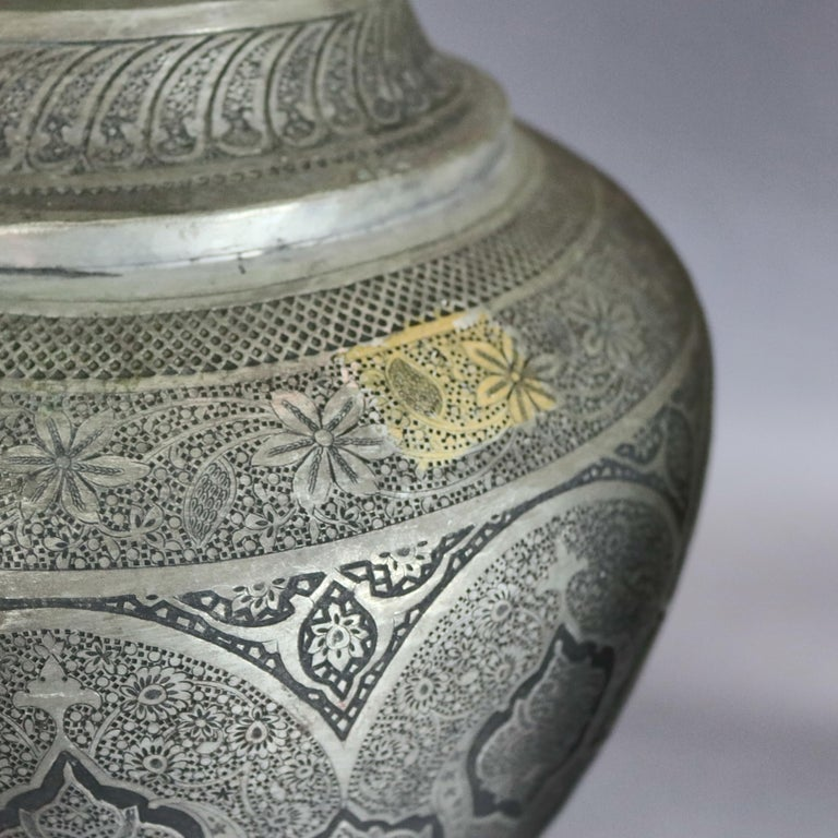 Pair of Monumental Persian Hand-Hammered Nickel-Plated Floor Urns, 19th Century For Sale 7