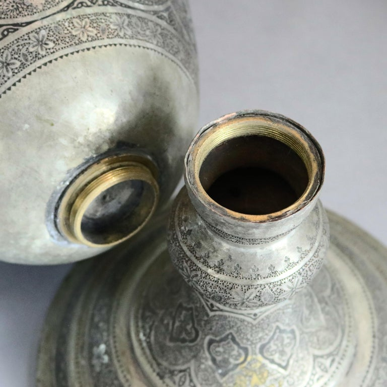 Pair of Monumental Persian Hand-Hammered Nickel-Plated Floor Urns, 19th Century For Sale 8