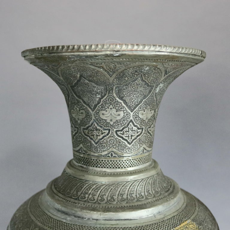 Hand-Crafted Pair of Monumental Persian Hand-Hammered Nickel-Plated Floor Urns, 19th Century For Sale