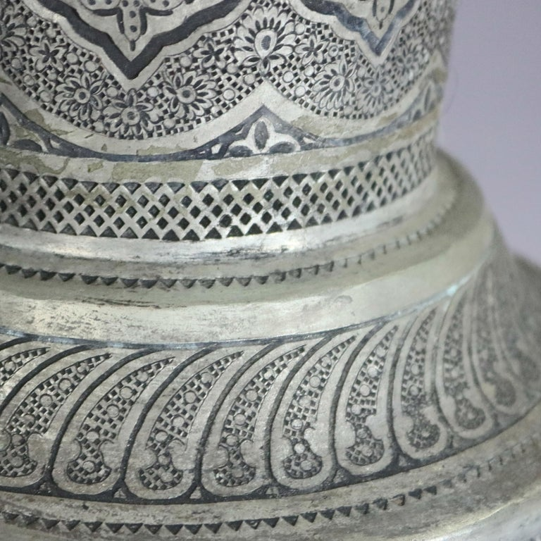 Pair of Monumental Persian Hand-Hammered Nickel-Plated Floor Urns, 19th Century For Sale 1