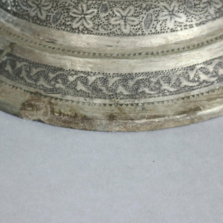 Pair of Monumental Persian Hand-Hammered Nickel-Plated Floor Urns, 19th Century For Sale 3
