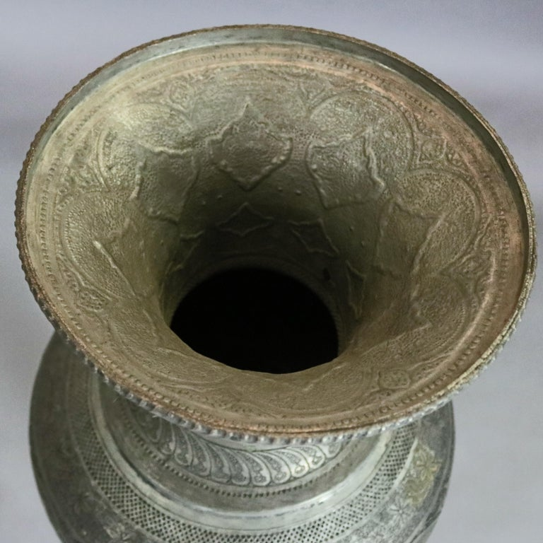 Pair of Monumental Persian Hand-Hammered Nickel-Plated Floor Urns, 19th Century For Sale 4