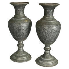 Pair of Monumental Persian Hand-Hammered Nickel-Plated Floor Urns, 19th Century