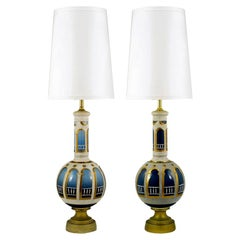 Pair Monumental Reverse Painted & Gilded Blue Glass Table Lamps