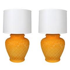 Pair Monumental Yellow Trellised Table Lamps