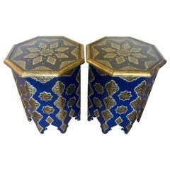 Pair of White and Gold Brass Inlaid Side or Center Tables in Blue Majorelle