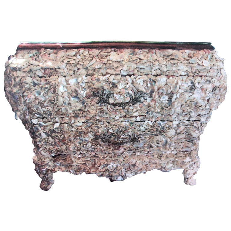 Mother of Pearl 18th Century Style Shell Encrusted French Commodes Chests, Pair For Sale