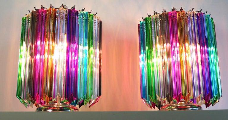 Italian Pair Multi-color Quadriedri Table Lamp, Murano, 1990s For Sale